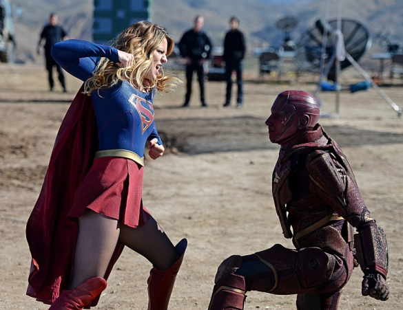"""Red Faced"" -- Personal and professional stress get the better of Kara when she goes too far during a training exercise against Red Tornado, a military cyborg commissioned by Lucy Lane's father, General Sam Lane, on SUPERGIRL, Monday, Nov. 30 (8:00-9:00 PM, ET) on the CBS Television Network. Pictured left to right: Melissa Benoist and Iddo Goldberg as Red Tornado Photo: Darren Michaels/CBS ©2015 CBS Broadcasting, Inc. All Rights Reserved"